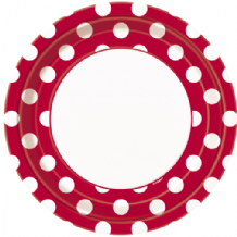 "Large Red Dots Plates - 9"" Paper Plates (8pcs)"